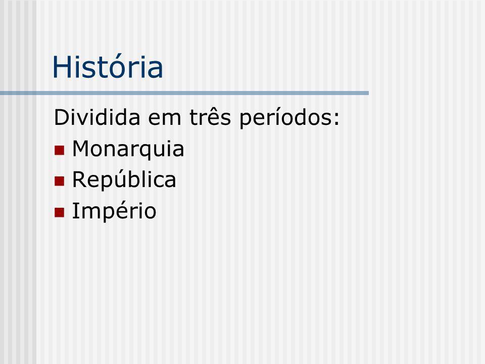 História Dividida em três períodos: Monarquia República Império