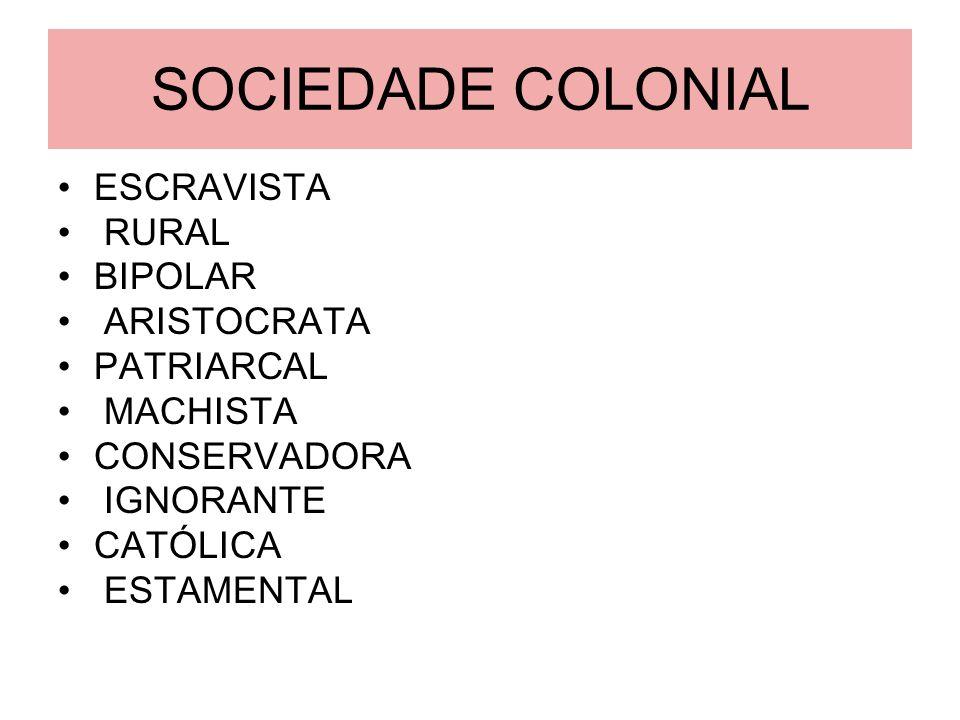 SOCIEDADE COLONIAL ESCRAVISTA RURAL BIPOLAR ARISTOCRATA PATRIARCAL