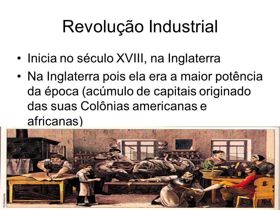 Revolução Industrial Inicia no século XVIII, na Inglaterra
