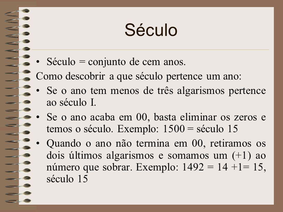 Século Século = conjunto de cem anos.