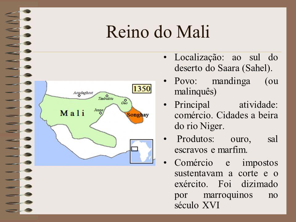 Reino do Mali Localização: ao sul do deserto do Saara (Sahel).