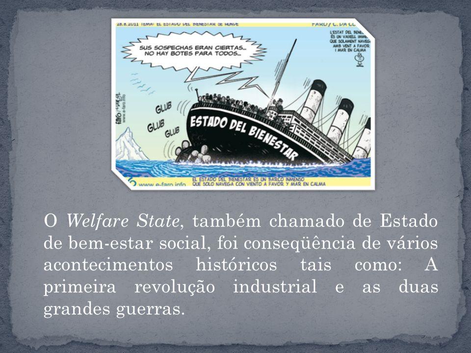 O Welfare State, também chamado de Estado de bem-estar social, foi conseqüência de vários acontecimentos históricos tais como: A primeira revolução industrial e as duas grandes guerras.