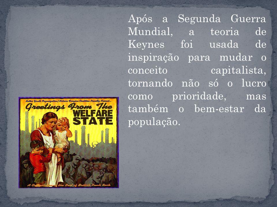 Após a Segunda Guerra Mundial, a teoria de Keynes foi usada de inspiração para mudar o conceito capitalista, tornando não só o lucro como prioridade, mas também o bem-estar da população.