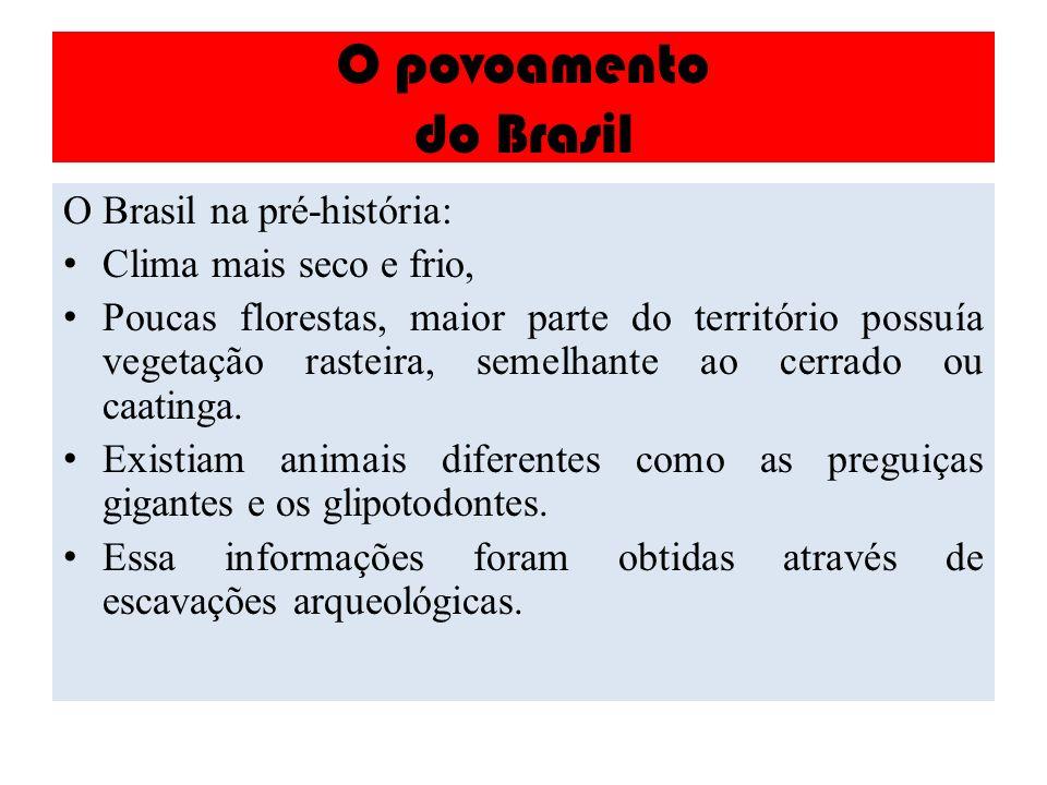 O povoamento do Brasil O Brasil na pré-história: