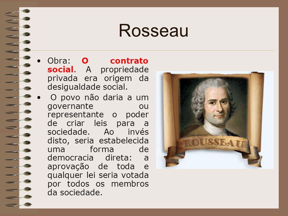 Rosseau Obra: O contrato social. A propriedade privada era origem da desigualdade social.