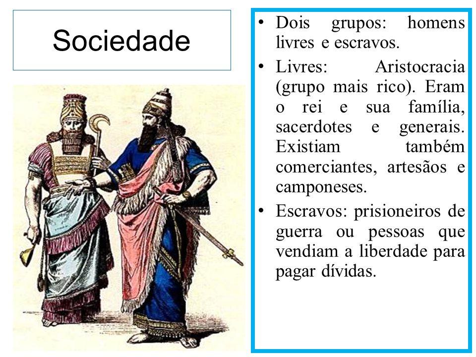 Sociedade Dois grupos: homens livres e escravos.
