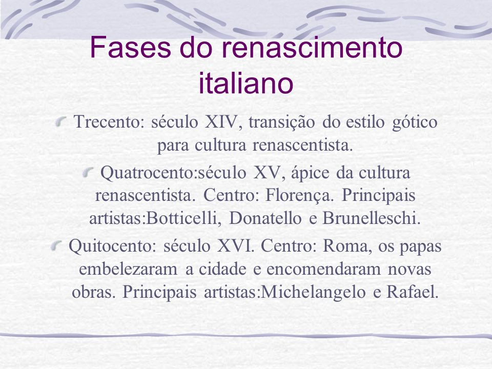 Fases do renascimento italiano