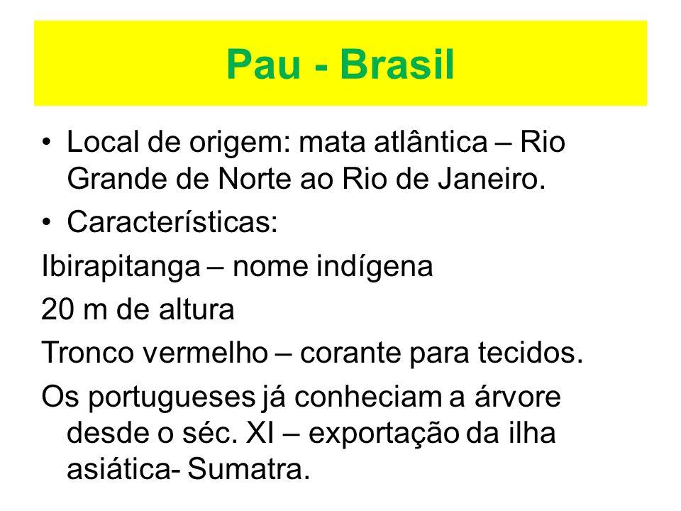 Pau - BrasilLocal de origem: mata atlântica – Rio Grande de Norte ao Rio de Janeiro. Características: