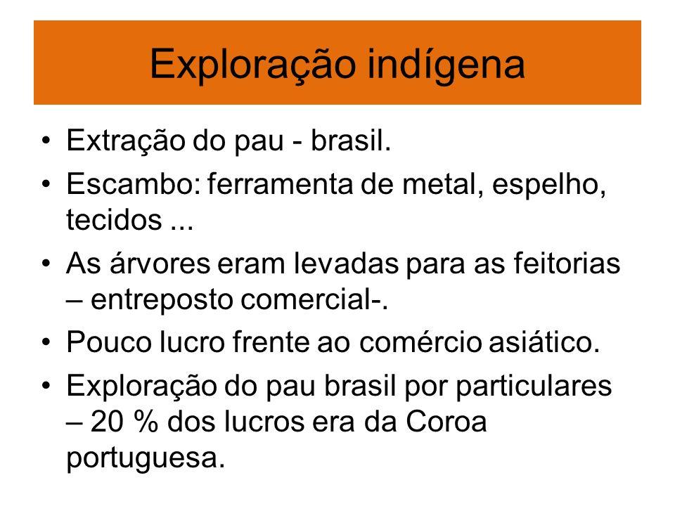 Exploração indígena Extração do pau - brasil.