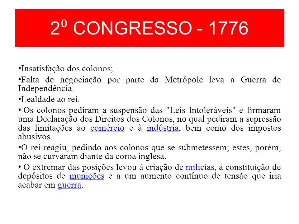 2⁰ CONGRESSO - 1776 Insatisfação dos colonos;