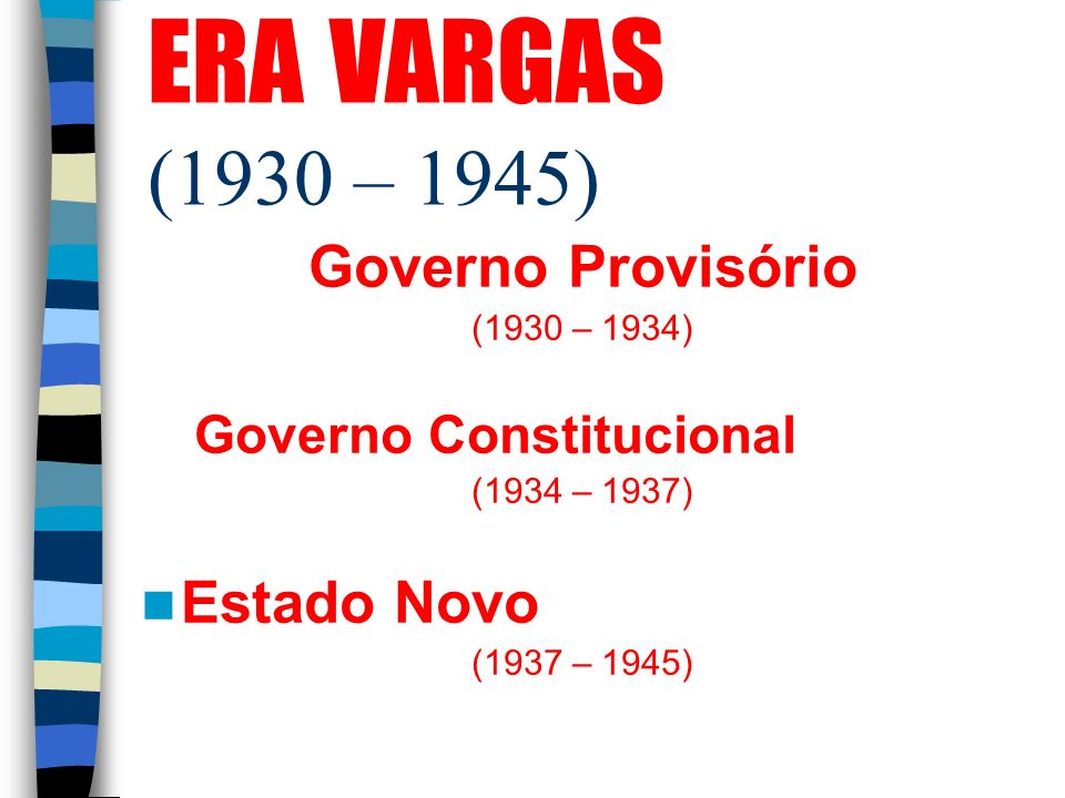 ERA VARGAS (1930 – 1945) Governo Provisório Estado Novo