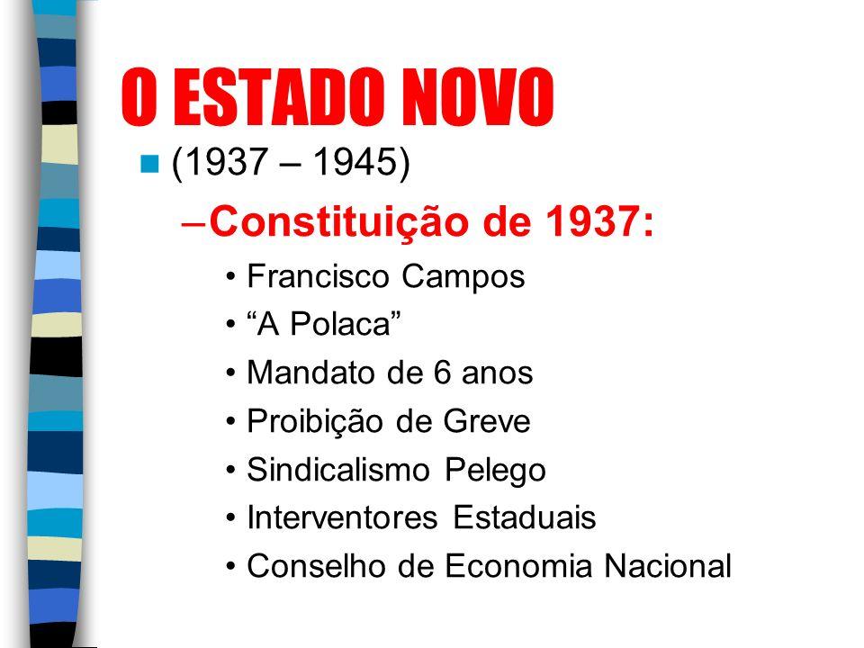 O ESTADO NOVO Constituição de 1937: (1937 – 1945) Francisco Campos