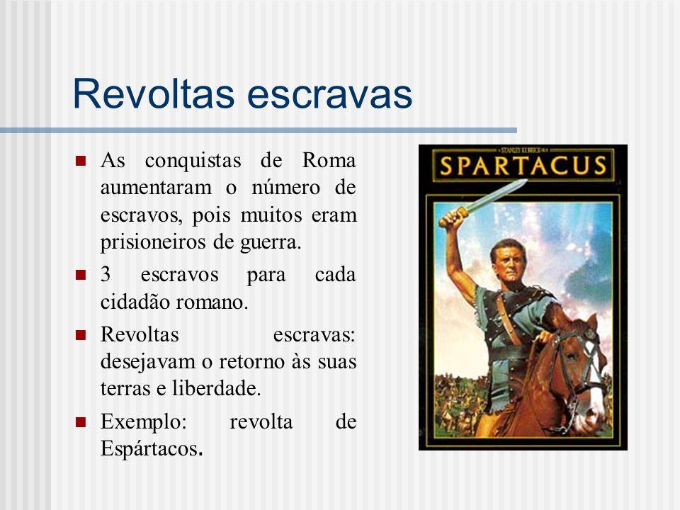 Revoltas escravas As conquistas de Roma aumentaram o número de escravos, pois muitos eram prisioneiros de guerra.