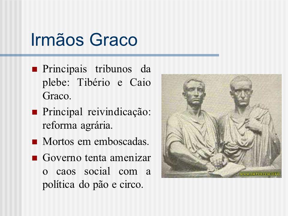 Irmãos Graco Principais tribunos da plebe: Tibério e Caio Graco.