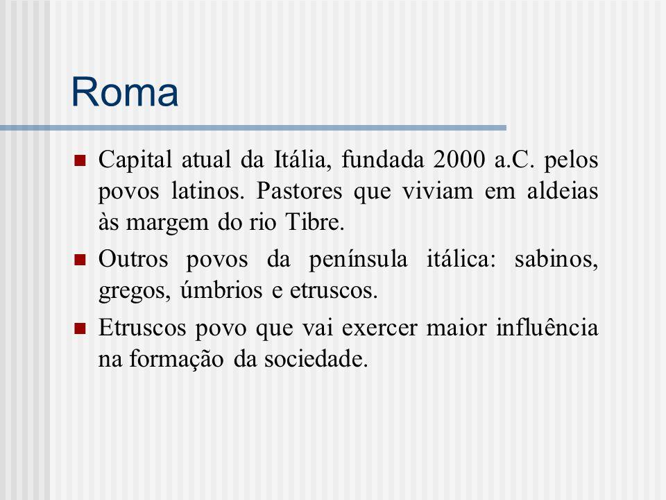 Roma Capital atual da Itália, fundada 2000 a.C. pelos povos latinos. Pastores que viviam em aldeias às margem do rio Tibre.