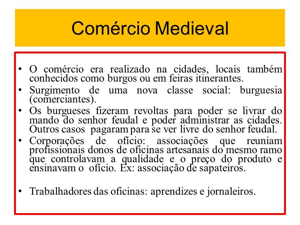 Comércio Medieval O comércio era realizado na cidades, locais também conhecidos como burgos ou em feiras itinerantes.