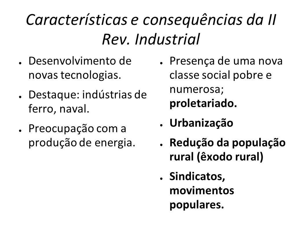 Características e consequências da II Rev. Industrial