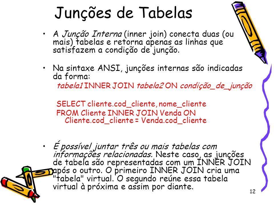 Junções de Tabelas A Junção Interna (inner join) conecta duas (ou mais) tabelas e retorna apenas as linhas que satisfazem a condição de junção.