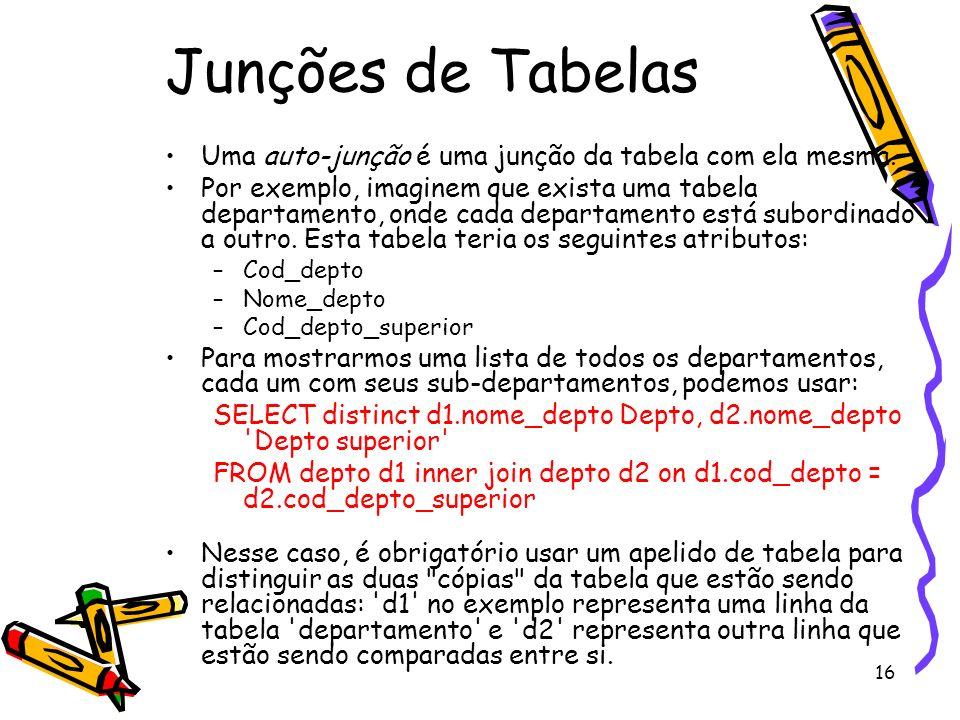 Junções de Tabelas Uma auto-junção é uma junção da tabela com ela mesma.