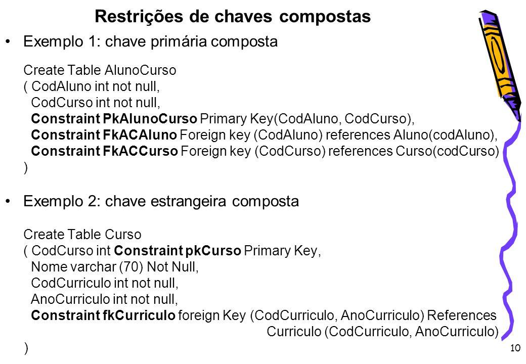Restrições de chaves compostas
