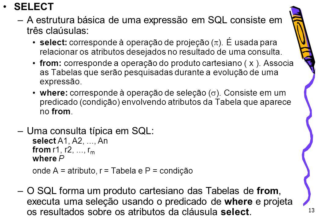 SELECT A estrutura básica de uma expressão em SQL consiste em três claúsulas: