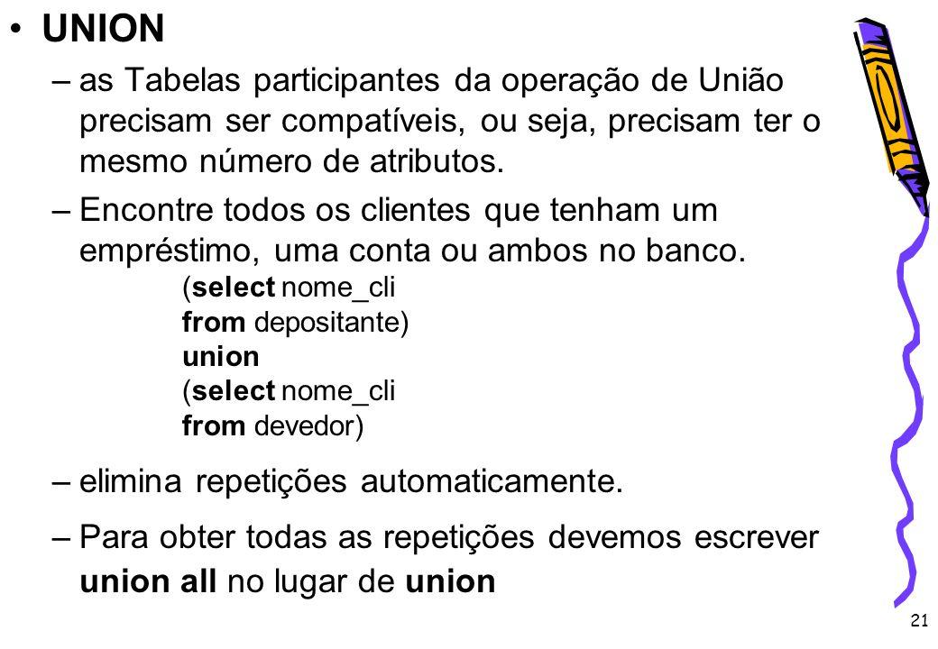 UNION as Tabelas participantes da operação de União precisam ser compatíveis, ou seja, precisam ter o mesmo número de atributos.