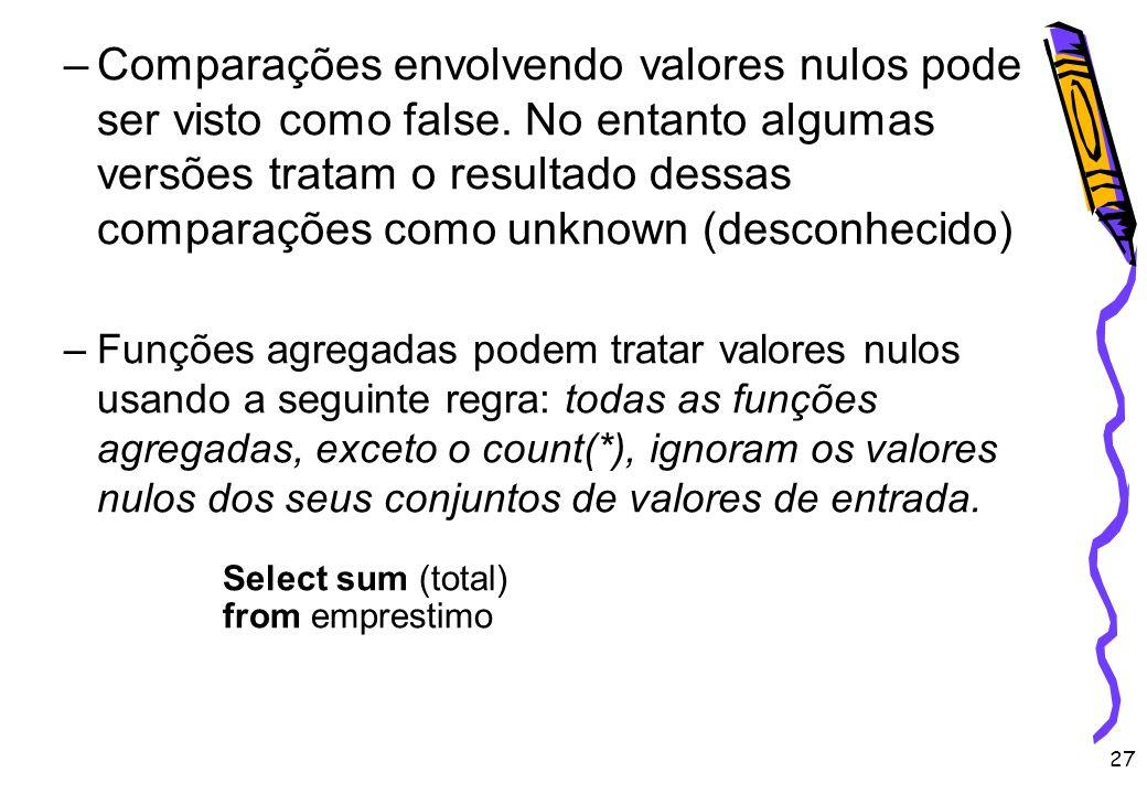 Comparações envolvendo valores nulos pode ser visto como false