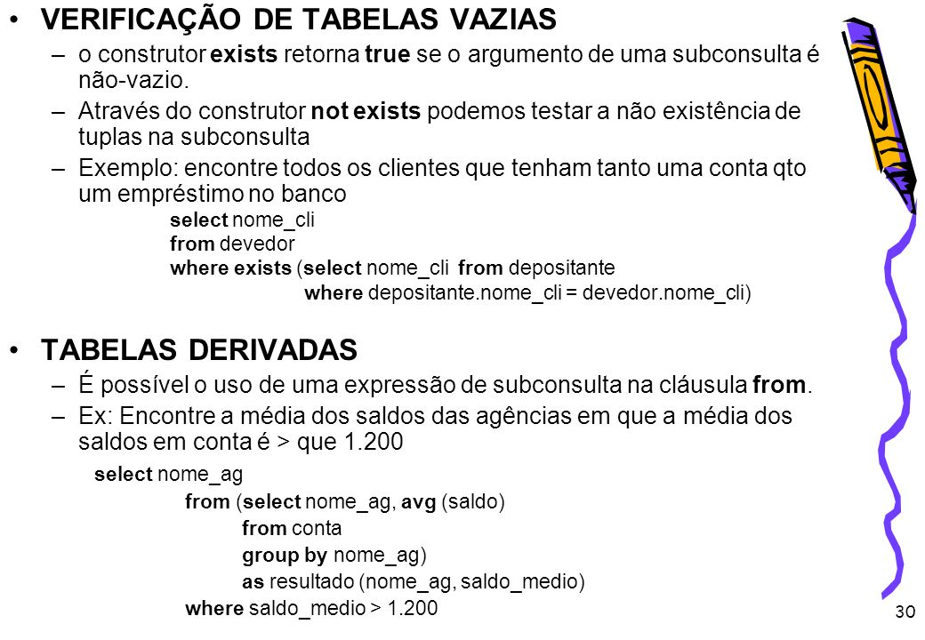 VERIFICAÇÃO DE TABELAS VAZIAS