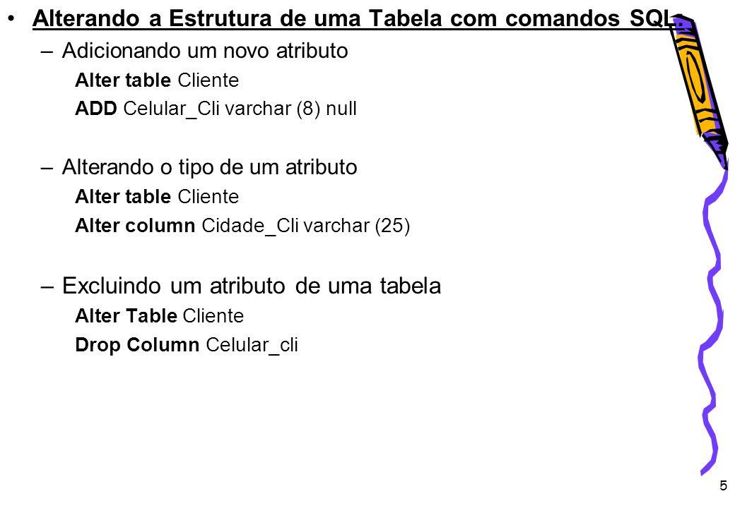 Alterando a Estrutura de uma Tabela com comandos SQL: