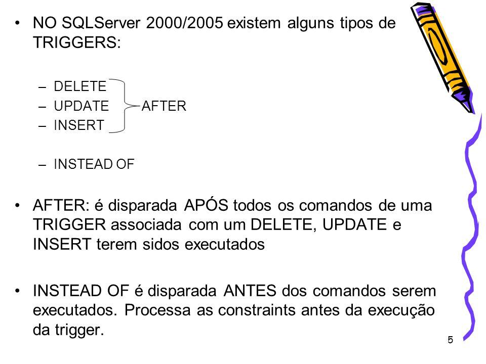 NO SQLServer 2000/2005 existem alguns tipos de TRIGGERS: