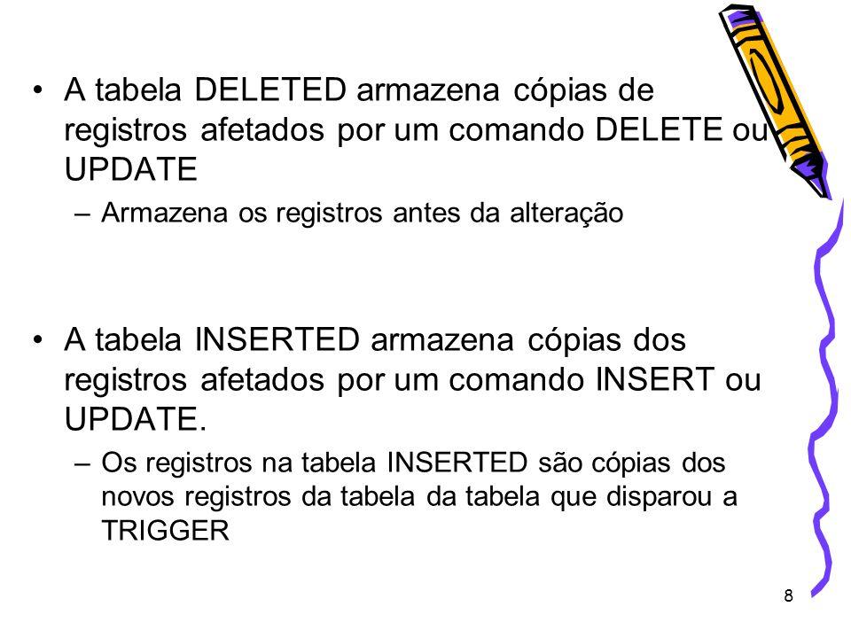 A tabela DELETED armazena cópias de registros afetados por um comando DELETE ou UPDATE