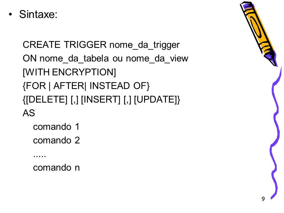 Sintaxe: CREATE TRIGGER nome_da_trigger