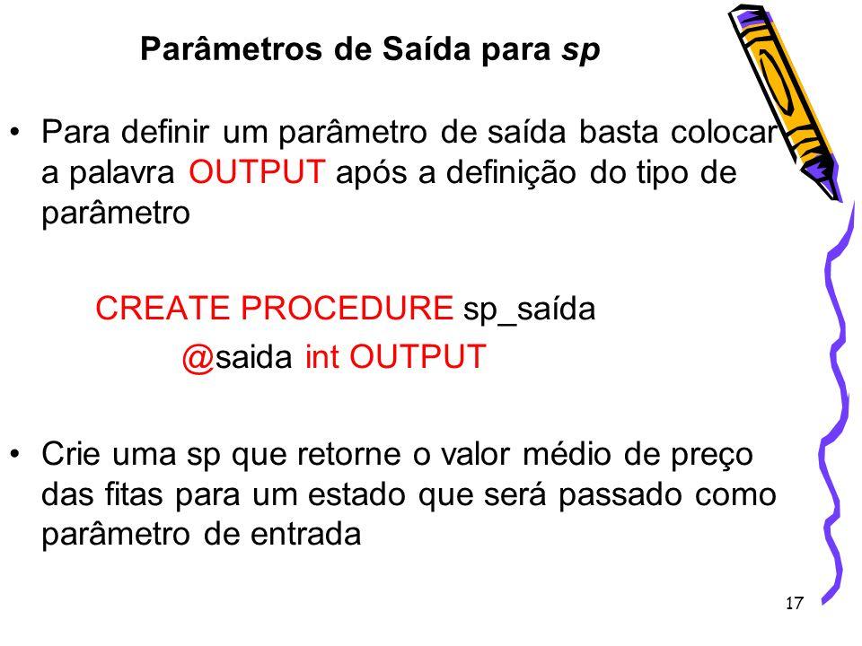 Parâmetros de Saída para sp