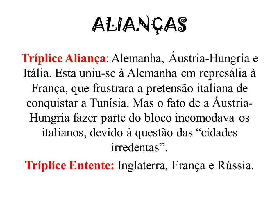 Tríplice Entente: Inglaterra, França e Rússia.