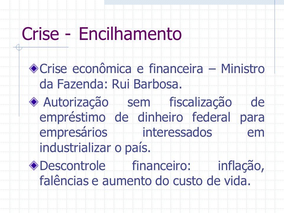 Crise - Encilhamento Crise econômica e financeira – Ministro da Fazenda: Rui Barbosa.