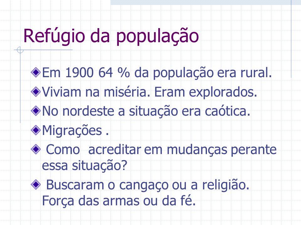 Refúgio da população Em 1900 64 % da população era rural.