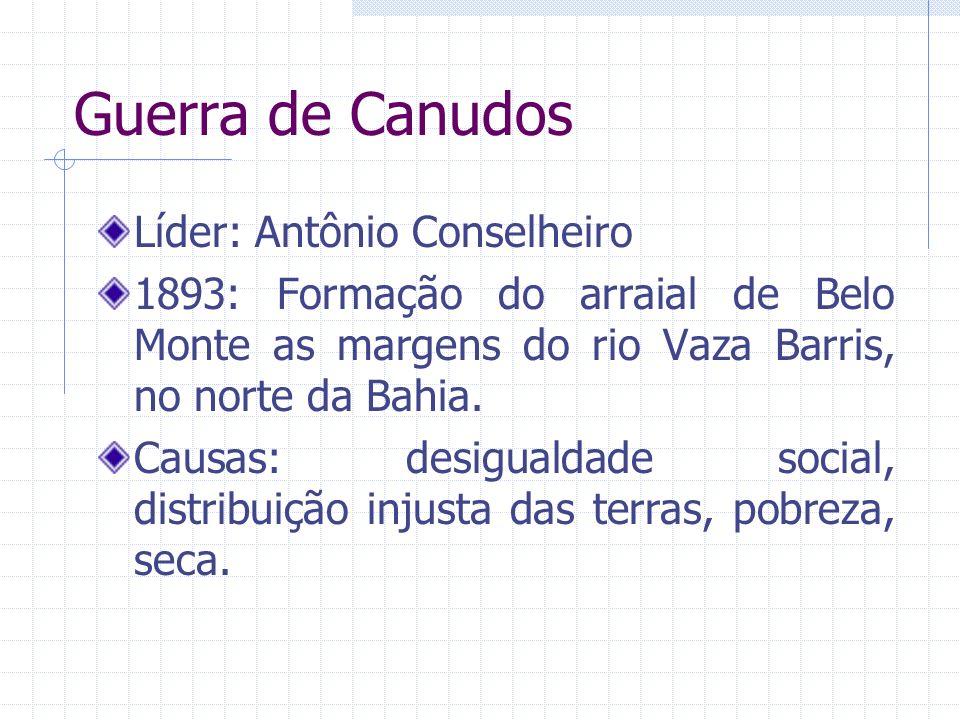 Guerra de Canudos Líder: Antônio Conselheiro