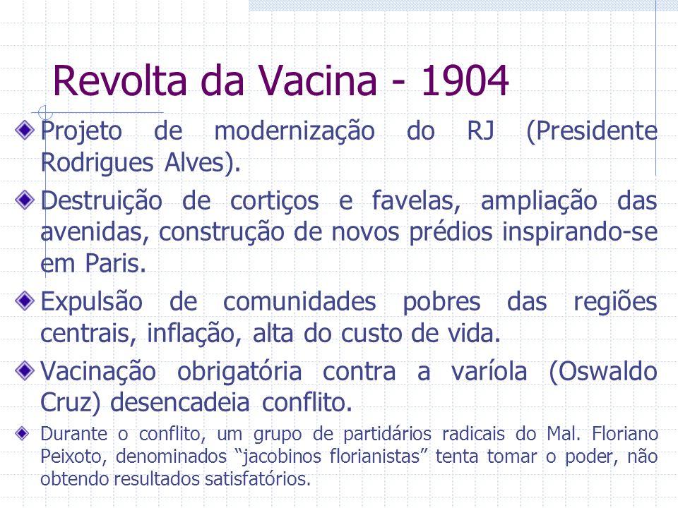Revolta da Vacina - 1904 Projeto de modernização do RJ (Presidente Rodrigues Alves).