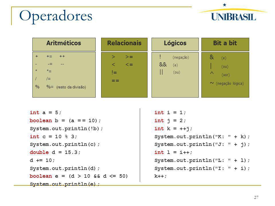Operadores Aritméticos Relacionais Lógicos Bit a bit & (e) | (ou)