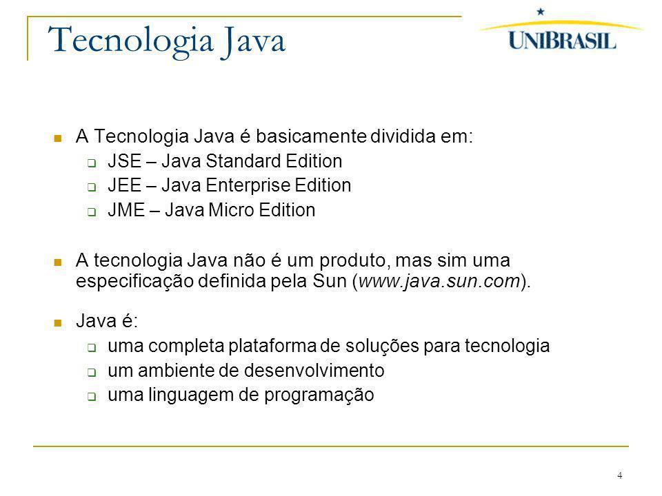 Tecnologia Java A Tecnologia Java é basicamente dividida em: