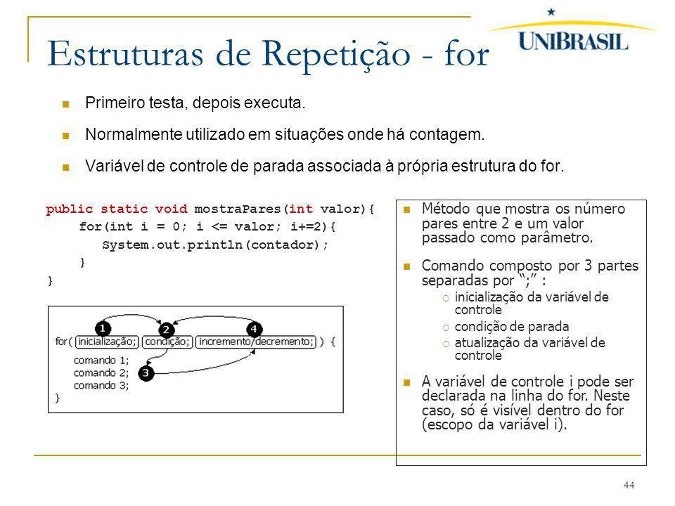 Estruturas de Repetição - for