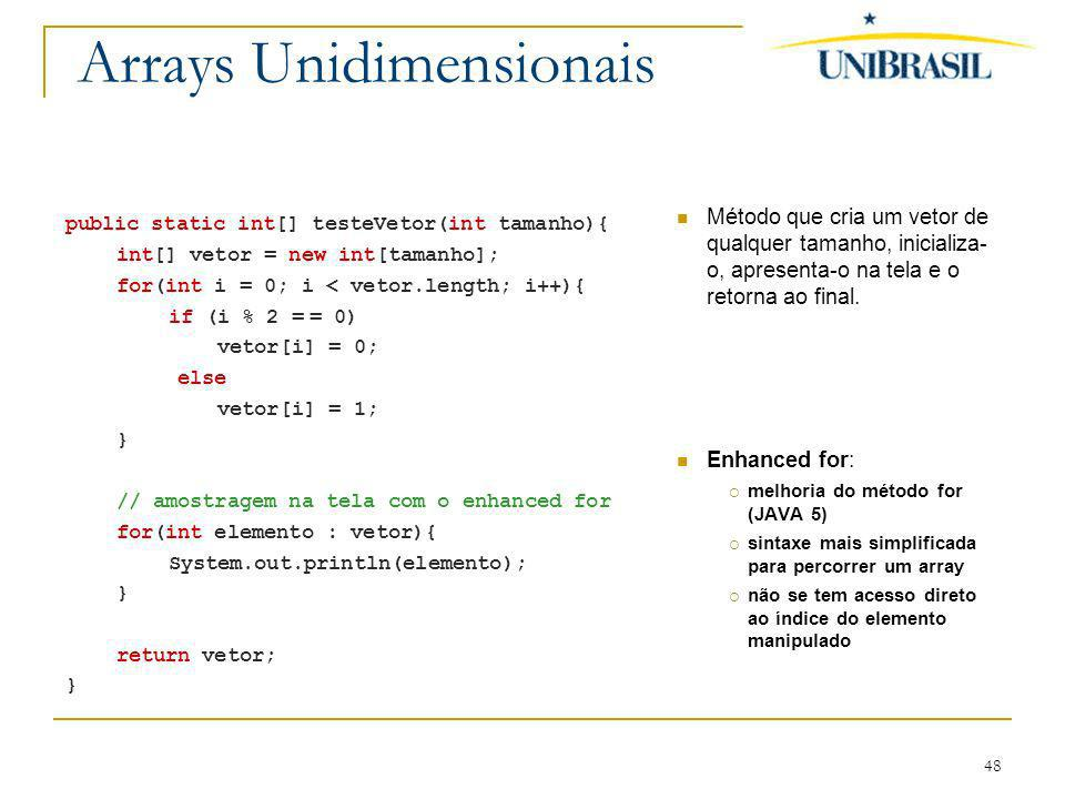 Arrays Unidimensionais