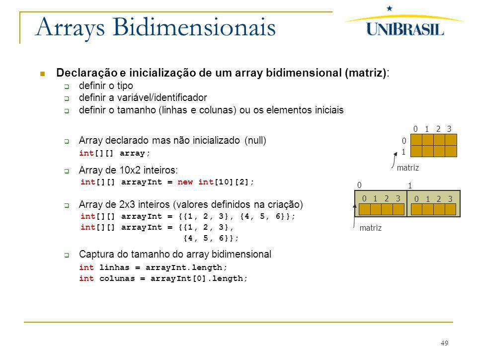 Arrays Bidimensionais