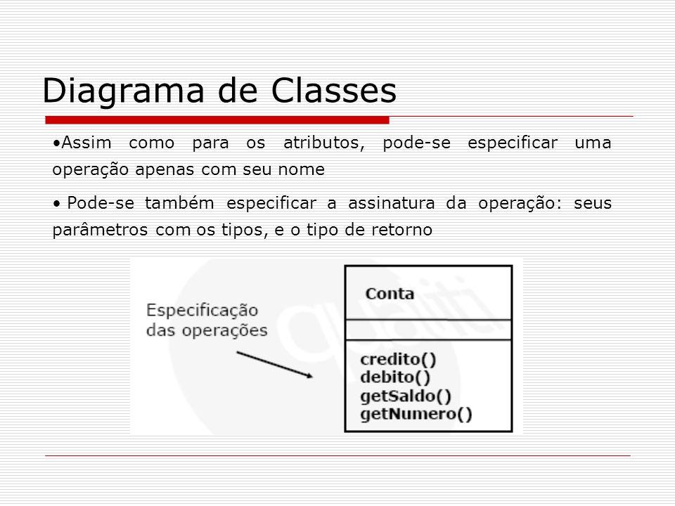 Diagrama de Classes Assim como para os atributos, pode-se especificar uma operação apenas com seu nome.