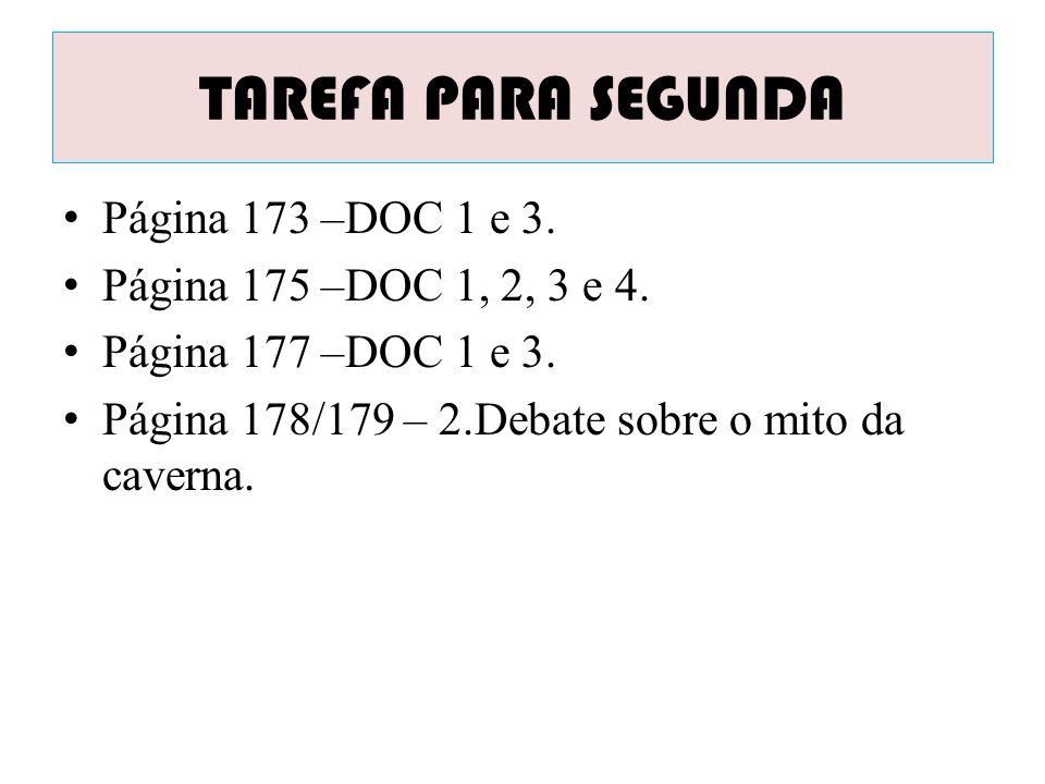 TAREFA PARA SEGUNDA Página 173 –DOC 1 e 3.