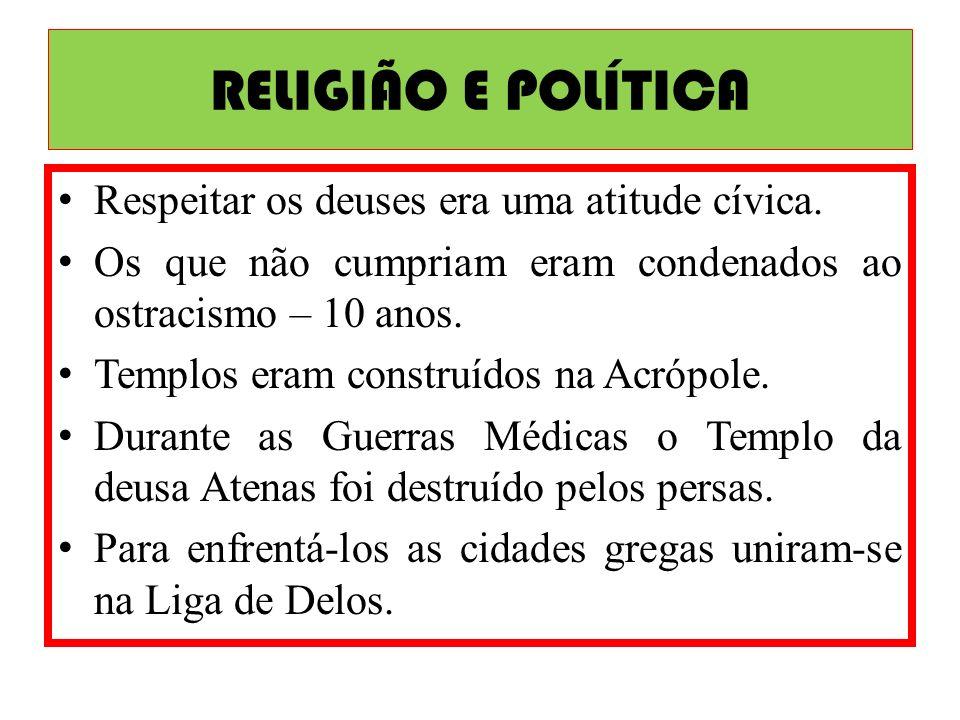 RELIGIÃO E POLÍTICA Respeitar os deuses era uma atitude cívica.