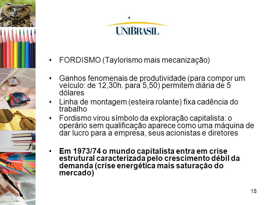 FORDISMO (Taylorismo mais mecanização)