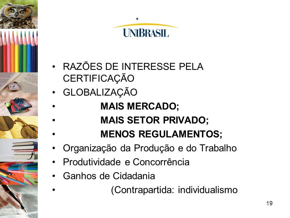 RAZÕES DE INTERESSE PELA CERTIFICAÇÃO