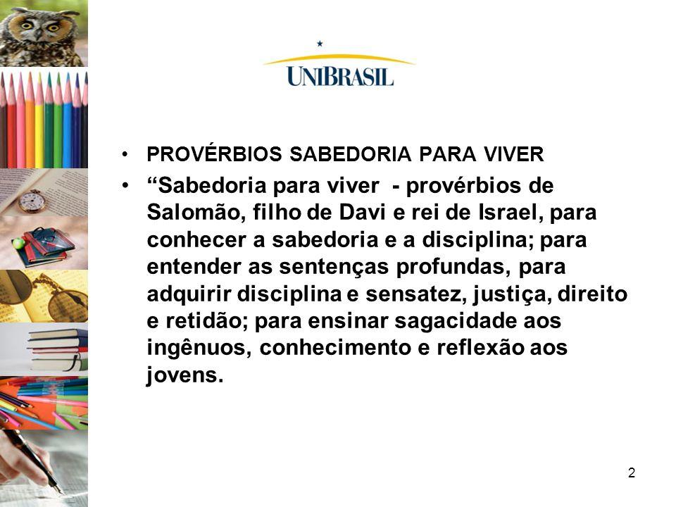 PROVÉRBIOS SABEDORIA PARA VIVER