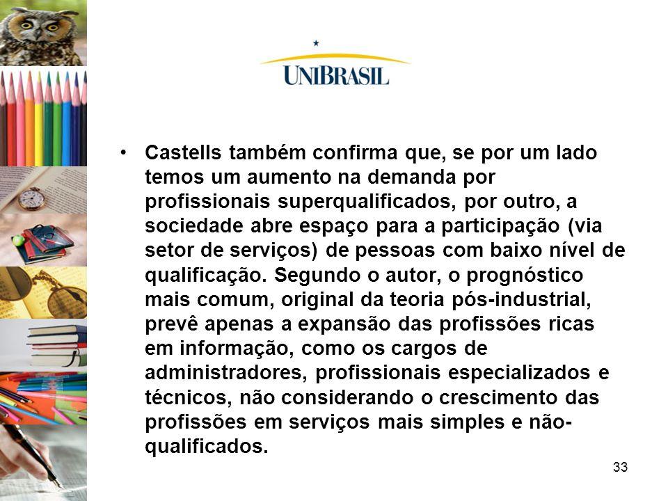 Castells também confirma que, se por um lado temos um aumento na demanda por profissionais superqualificados, por outro, a sociedade abre espaço para a participação (via setor de serviços) de pessoas com baixo nível de qualificação.